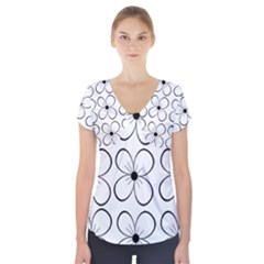 White flowers pattern Short Sleeve Front Detail Top