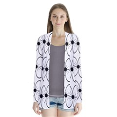 White flowers pattern Drape Collar Cardigan