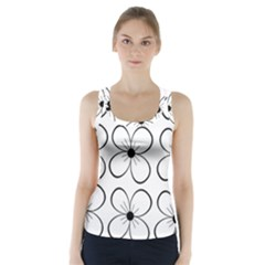 White flowers pattern Racer Back Sports Top