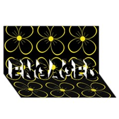 Yellow flowers ENGAGED 3D Greeting Card (8x4)