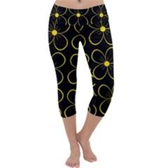 Yellow Flowers Capri Yoga Leggings