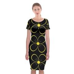 Yellow Flowers Classic Short Sleeve Midi Dress