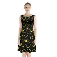 Yellow Flowers Sleeveless Waist Tie Dress