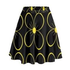 Yellow flowers High Waist Skirt