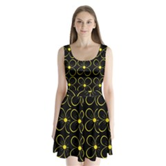 Yellow flowers Split Back Mini Dress