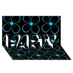 Blue flowers PARTY 3D Greeting Card (8x4)