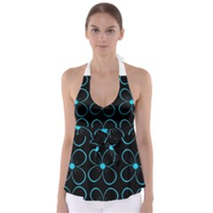 Blue flowers Babydoll Tankini Top
