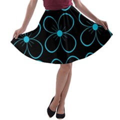 Blue flowers A-line Skater Skirt