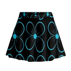 Blue flowers Mini Flare Skirt