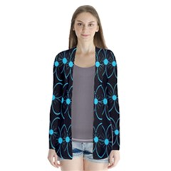 Blue Flowers Drape Collar Cardigan