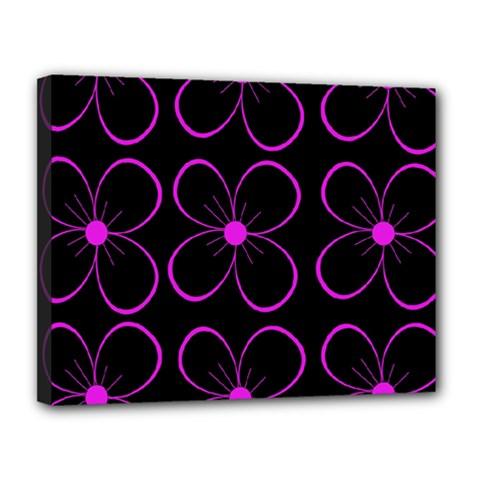 Purple floral pattern Canvas 14  x 11