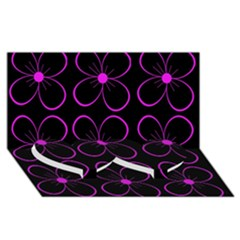Purple floral pattern Twin Heart Bottom 3D Greeting Card (8x4)