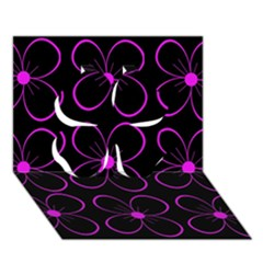 Purple floral pattern Clover 3D Greeting Card (7x5)