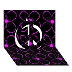 Purple floral pattern Peace Sign 3D Greeting Card (7x5)