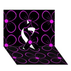 Purple floral pattern Ribbon 3D Greeting Card (7x5)
