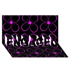 Purple floral pattern ENGAGED 3D Greeting Card (8x4)