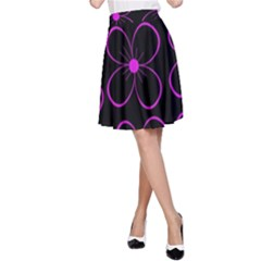 Purple floral pattern A-Line Skirt