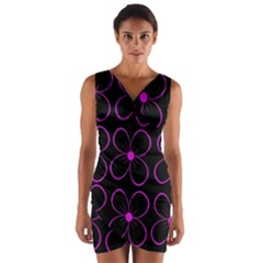Purple floral pattern Wrap Front Bodycon Dress