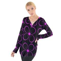 Purple floral pattern Women s Tie Up Tee