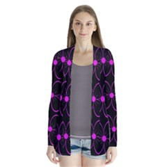 Purple floral pattern Drape Collar Cardigan