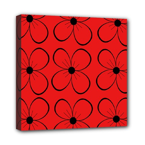 Red floral pattern Mini Canvas 8  x 8