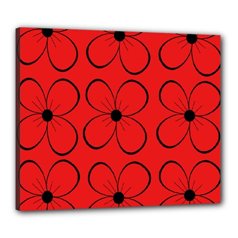 Red floral pattern Canvas 24  x 20
