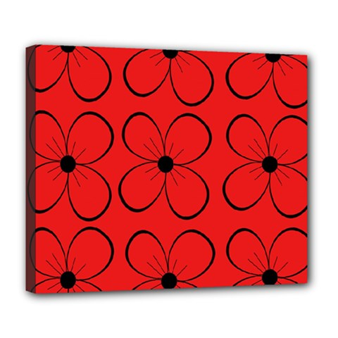 Red floral pattern Deluxe Canvas 24  x 20