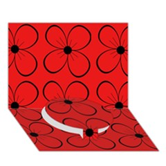 Red floral pattern Circle Bottom 3D Greeting Card (7x5)