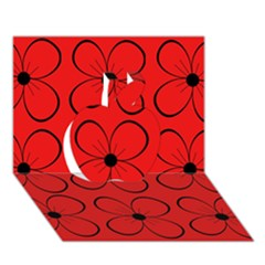 Red floral pattern Apple 3D Greeting Card (7x5)