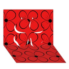 Red floral pattern Clover 3D Greeting Card (7x5)