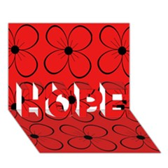 Red floral pattern HOPE 3D Greeting Card (7x5)
