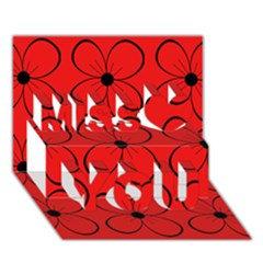 Red floral pattern Miss You 3D Greeting Card (7x5)