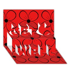 Red floral pattern Get Well 3D Greeting Card (7x5)