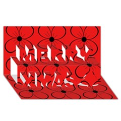 Red floral pattern Merry Xmas 3D Greeting Card (8x4)