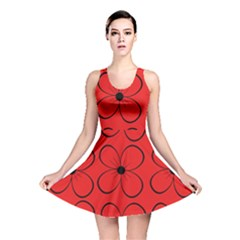 Red floral pattern Reversible Skater Dress