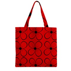 Red Floral Pattern Zipper Grocery Tote Bag