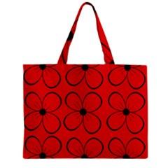 Red floral pattern Zipper Mini Tote Bag
