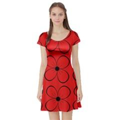 Red floral pattern Short Sleeve Skater Dress