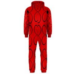 Red floral pattern Hooded Jumpsuit (Men)