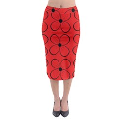Red floral pattern Midi Pencil Skirt