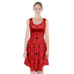 Red floral pattern Racerback Midi Dress