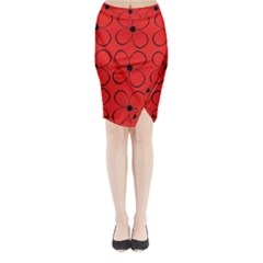 Red floral pattern Midi Wrap Pencil Skirt
