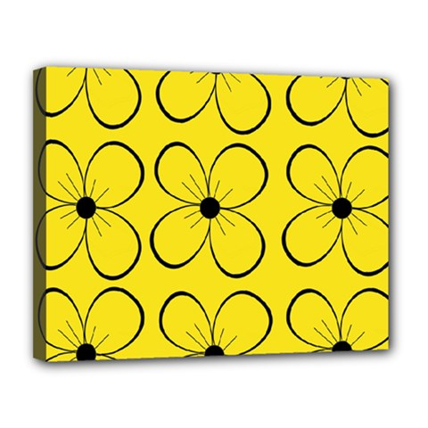 Yellow floral pattern Canvas 14  x 11