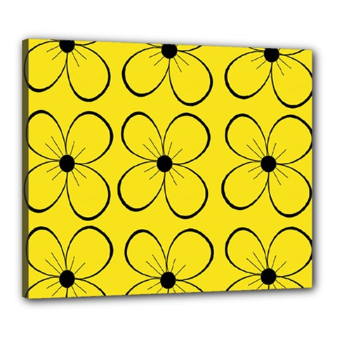 Yellow floral pattern Canvas 24  x 20