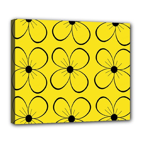 Yellow floral pattern Deluxe Canvas 24  x 20