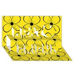 Yellow floral pattern Best Friends 3D Greeting Card (8x4)