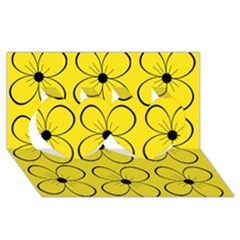 Yellow floral pattern Twin Hearts 3D Greeting Card (8x4)
