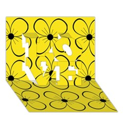 Yellow floral pattern LOVE 3D Greeting Card (7x5)