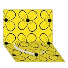 Yellow floral pattern Heart Bottom 3D Greeting Card (7x5)