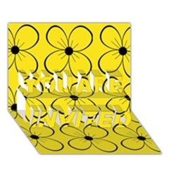 Yellow floral pattern YOU ARE INVITED 3D Greeting Card (7x5)